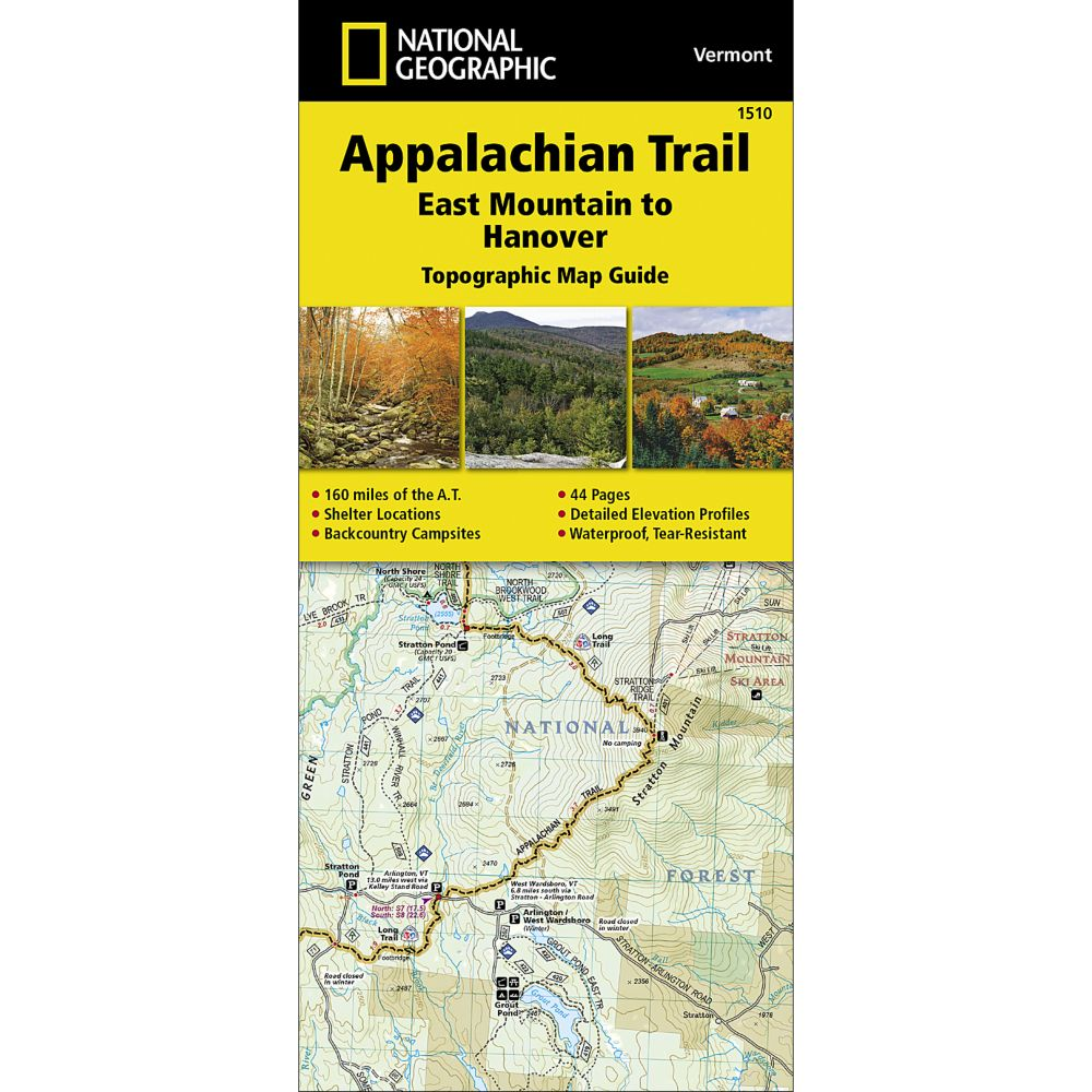 National Geographic Appalachian Trail, East Mountain to Hanover (Vermont)  Trail Map