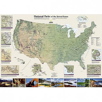 National Geographic National Parks of the United States Wall Map